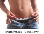 Hot woman body with jeans and underwear - stock photo