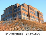 Office Building on a Hill at Sunset - stock photo