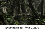 jungle scene with kind of bridge tree - stock photo