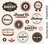Stock vector set of vintage retro bakery logo badges and labels 94600402