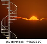 Spiral Stairway In A Dramatic...