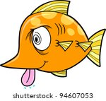 Crazy Insane Fish Vector Illustration Art - stock vector