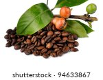 Roasted coffee beans, raw coffee seeds and coffee leaf isolated on a white background, selective focus. - stock photo