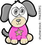 Crazy Puppy Dog Animal Vector Illustration Art - stock vector