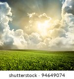 green meadow under blue sky... | Shutterstock . vector #94649074