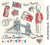 I Love London Icons Doodles...