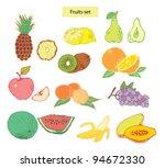 fruits set  hand drawn... | Shutterstock .eps vector #94672330
