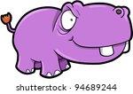 Crazy Hippopotamus Safari Animal Vector Illustration Art - stock vector