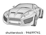 sports car blueprint. non... | Shutterstock .eps vector #94699741