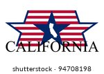 California state map, flag and name.