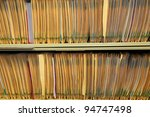 Medical records in the shelf of physicians office - stock photo