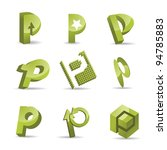 Abstract Letter P Icon Symbol...