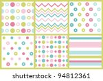 Set Of Cute Pattern. Vector...
