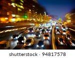 car traffic at night. motion...   Shutterstock . vector #94817578