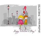 vector romantic background with ... | Shutterstock .eps vector #94819750