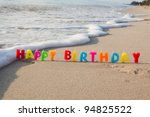 happy birthday candles on a... | Shutterstock . vector #94825522