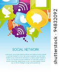 social network icons on colors  ... | Shutterstock .eps vector #94832092