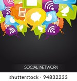 social network icons on bubbles ... | Shutterstock .eps vector #94832233