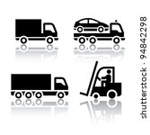 Set of transport icons - truck - stock vector
