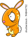Crazy Orange  Bunny Rabbit Vector Illustration Art - stock vector