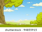 Stock vector landscape with tree and shrub vector illustration 94855915