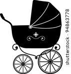 Baby Stroller Over White ...