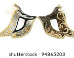 Carnival masks isolated on white background. - stock photo