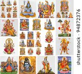 collection  of hindu religious symbols, gods  as : Lakshmi, Ganesha, Hanuman, Vishnu, Shiva, Parvati, Durga, Buddha, Rama,Krishna - stock photo