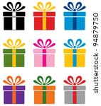 vector set of colorful gift box ... | Shutterstock .eps vector #94879750