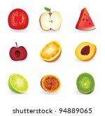 vector fresh fruits in segments ... | Shutterstock .eps vector #94889065