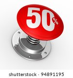 one button with number 50 and percent symbol (3d render) - stock photo