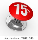 one button with number 15 and percent symbol (3d render) - stock photo