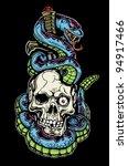snake skull and dagger tattoo | Shutterstock .eps vector #94917466