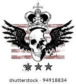 winged skull crown stripes