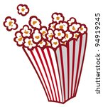 popcorn in a striped tub | Shutterstock .eps vector #94919245