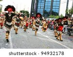 LIMASSOL, CYPRUS - MARCH 6, 2011: Unidentified participants  in Indian costumes during the carnival parade, established in 16th century,influenced by Venetian traditions. - stock photo