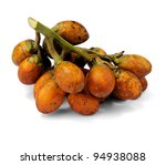 Betel Nut or Areca Nut isolated on a white background. - stock photo