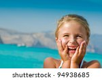 Summer beach - lovely girl on summer vacation - stock photo