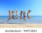 group of six attractive girl... | Shutterstock . vector #94972831
