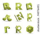 Abstract Letter R Alphabet...
