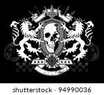 lion skull shield crest