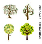 set of abstract trees | Shutterstock .eps vector #94990480