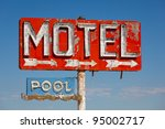 red  vintage  neon motel sign... | Shutterstock . vector #95002717