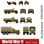 Trucks And Apc In Vector. Ww2...