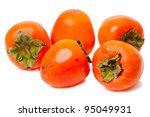 Ripe persimmon isolated on a white background - stock photo