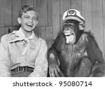 Laughing Boy Scout And Monkey...