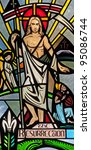 Stained glass window of Easter Resurrection of Jesus Christ - stock photo