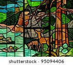 Stained glass window in a church depicting wilderness scene - stock photo