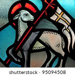 Stained glass window of Lamb of God Easter symbol - stock photo