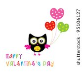 valentine's owl greeting with... | Shutterstock .eps vector #95106127